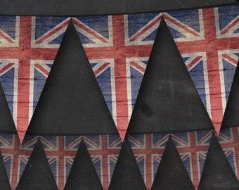 Union Jack Bunting - Printable Editable British London Union Jack Bunting Instant Download - Classroom Party Banner Flags Custom Name