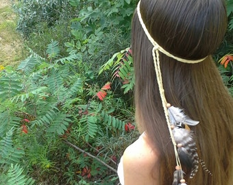 Elegant, Native, American, Style, Feather, HeadBand, wedding, natural, hippie, feather, real, indian, whimsical, boho, hippy, hipster, gypsy