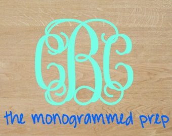 Monogram Car Decal Monogram Sticker Vine Monogram Sticker