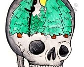 SKULL AND TREE print of original water color painting