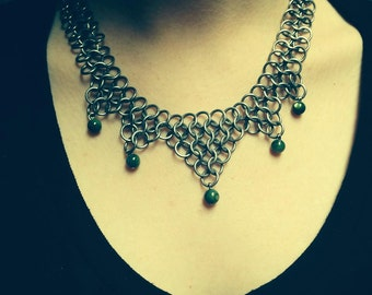Handmade Beaded Chainmaille Necklace