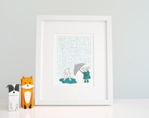 Little Girl & Dog Kids Illustration - Nursery Ideas - Prints for Kids Room - Wall Art Playroom - Children's Pictures - Wall Decor - Cute Dog