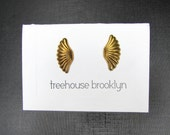 Brass Fan / Shell / Wing Stud Earrings- Vintage Deadstock
