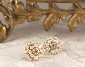 "Gold Lace Pearl Studs / Freshwater Pearl Bridal Earrings / Ivory Pearls Vintage Rhinestones /  ""Matilda"""