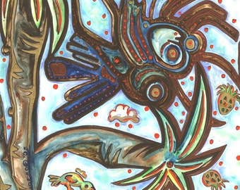 """Creepy Crawly Things - 12""""x12"""" Art PRINT, brown blue creepy crawly creature is chomping on pineapple, bird feasts too"""