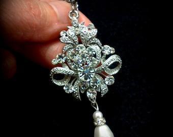 Clip On Bridal Earrings, Chandelier Earrings, Pearl Drop Earrings, Screw Back Earrings, Swarovski Crystal Earrings, Statement Jewelry ROYALS