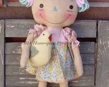 Primitive Raggedy Ann Doll Pattern, wool chick pattern, Primitive Easter doll pattern, cloth doll, HFTH199