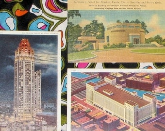 Collection of 20s to 50s deco mid century American tourist postcards architecture nature boho decor repurpose altered art supplies