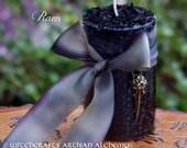 "RAVEN ""Old European Witchcraft""™ Warrior Goddess Black Pillar Candle with Bronze Raven Skull Charm on Silk Ribbon"