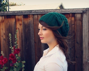 Chunky Slouchy Beanie // Forest Green Knit Slouchy Hat // Knit Hat // Fall Accessories