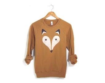 Geo Fox Sweatshirt - Crew Neck Long Sleeve Fleece Raglan Sweater in Rust - Unisex Size XS-2XL