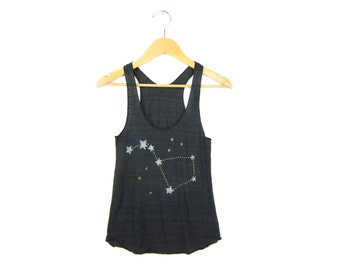 Big Dipper Tank - Racerback Scoop Neck Swing Tank Top in Heather Black and Metallic Gold - Women's Size XS-L