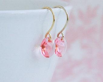 PINK  Crystal Earrings Swarovski Crystal Pink Bridesmaid Modern Minimal Girl's Jewelry Teen