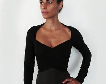 ON SALE 50%!  Multi tie wrap around bolero top. Yoga clothes - yoga top - dance wear - fitness. Black size S