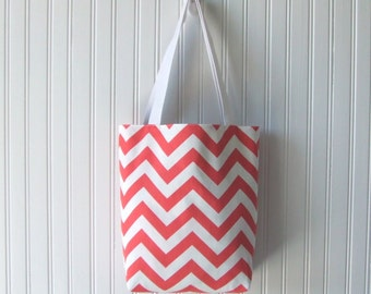 Chevron Tote Bag, Reversible Tote Bag, Hand Bag, Summer Tote Bag, Coral Tote Bag, Purse, Book Bag, Canvas Tote Bag, Gift Idea for Mom