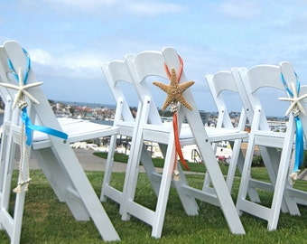 Beach Wedding Decor - Starfish Chair Decoration with Natural White Starfish, Cording and Ribbon - 24 Ribbon Colors available
