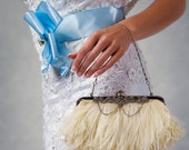 Cherri - Elegant ostrich feather bridal clutch with rhinestone accents