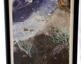 Undersea Ocean Coral Reef Monotype, Original Abstract Print, Surreal Modern, 19 x 13 Handmade Art