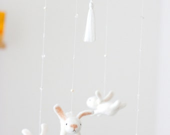 nursery mobile - baby crib mobile - bunny mobile - made to order