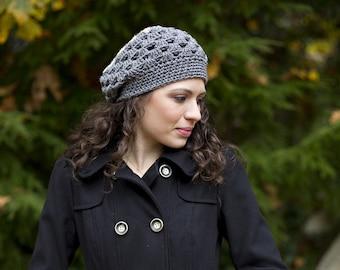 Beanie Beret Slouchy HAT in GRAY - Handmade by BABYARNS