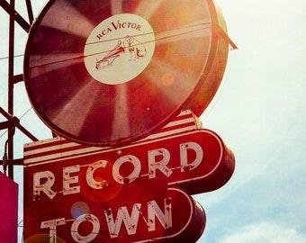 Fine Art Photo, Neon Sign, Record Store, Fort Worth Texas, Record Player Art, Modern Wall Art, Music Art, Musicians, Vinyl Records, Print