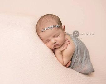 Baby Rhinestone Headband, Newborn Headband, Baby Tieback, Burlap Headband, Newborn Props, Baby Girl Props, RTS, EcoStreet Photo Prop