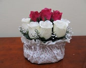 Heart Covered Basket with Fuchsia and White Roses