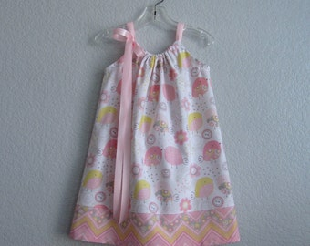 Little Girls Pillowcase Dress - Pink and White Sun Dress - Buttons and Birds and Chevron Stripes - Size 12m, 18m, 2T, 3T, 4T, 5 or 6