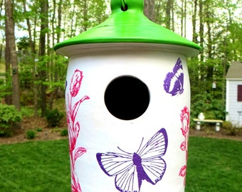 Ceramic Bird House with Butterflies and Flowers, Painted