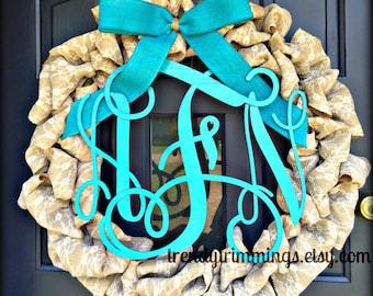 """3-D Wooden Monogram™- 16"""" Interlocking Script Initials- wooden letters for your front door, home, nursery, or wedding"""