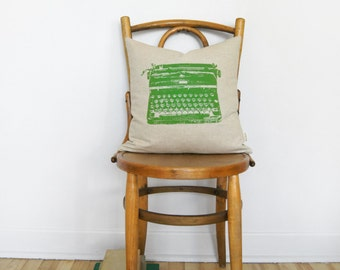 16x16 or 12x18 Typewriter Pillow Case, Cushion Cover in Green, Beige & Geometric Accent | Decorative Throw Pillow | Mid Century Modern