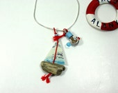 driftwood boat necklace,fish necklace,genuine parchment,beach in a bottle,ocean jewelry,nautical style,fishing and sailing,driftwood jewelry