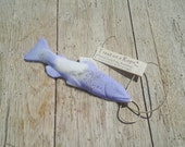 TROUT SOAP on a ROPE  - Purple Lavender and Orange Essential Oil - Fish Soap - Wedding Favors - Made with Coconut Oil and Hemp Oil