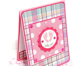 Baby Girl Card with Matching Embellished Envelope- Plaid