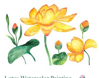 Flowers Clipart, Lotus Watercolor Clip Art, Digital Clipart, Yellow Flowers Clip Art, Watercolor Flowers, EasyPrintPD