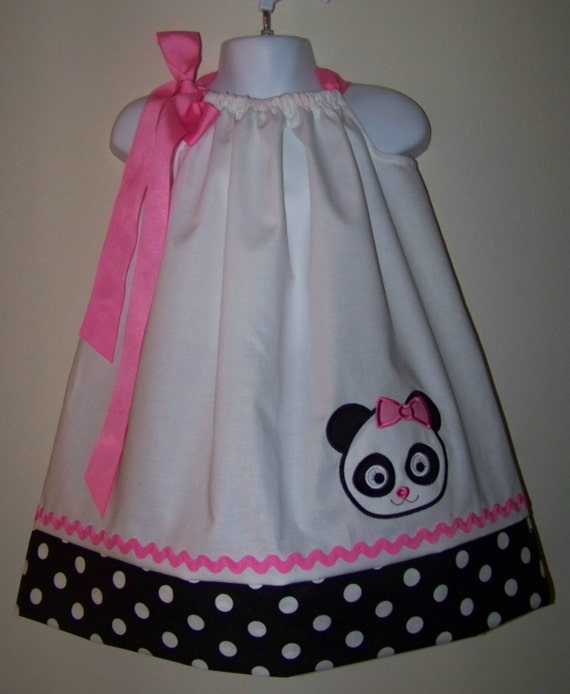 Cute Ideas For Pillowcase Dresses : Panda Pillowcase Dress / Girl Bear / Pink / Cute / Birthday