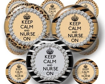 Nurse, Bottle Cap Images, Keep Calm And Nurse On, Jungle Animal Print, 1 Inch Circles, Digital Collage Sheet, Leopard Print, Jewelry, Crafts