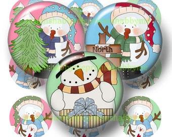 "SNOWMAN, Bottle Cap Images, Digital Collage Sheet, 1"" Circles, Printable 1 Inch Circles, Instant downlaod (Funny snowman 1 & 2)"