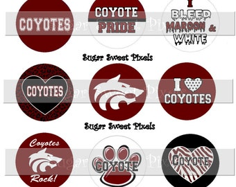 INSTANT DOWNLOAD Coyotes Maroon  School Mascot 1 inch Circle Bottlecap Images 4x6 sheet