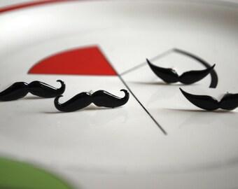 Mustache Earrings -- Studs, Black Mustaches, Silver, Moustache Studs
