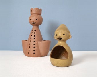 Two Stoneware Designs West Figural Planters - Medium and Small