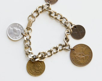 1950's Coins Charm Bracelet - Sixpence  Vintage Money Charm, Women's Jewelry, Thai Buddha Fashion - Polished Preppy Fashion