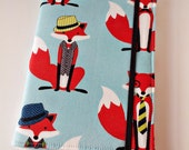 Kindle Paperwhite Cover Nook Simple Touch  Kobo Glo Nook Glowlight Kindle Voyage Dapper Foxes in Aqua Custom Order