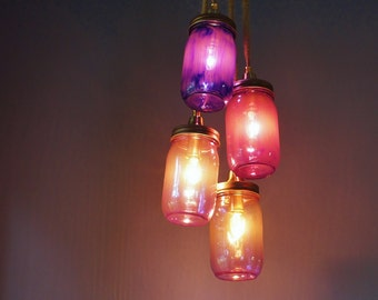 4 Light Mason Jar Chandelier, Copper Hardware and Plum Shades of Glass