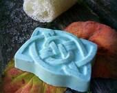 Irish Celtic Knotwork-Cucumber and Avocado Shea Butter Soap-Hand Molded-Herbal-Basil-Rosemary-Sage-Organic-Vegan