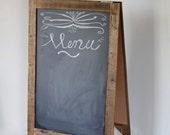Large A Frame Chalkboard - Wedding Chalkboard - Sidewalk Chalkboard - Chalkboard Easel - Reclaimed Wood Framed - Rustic Modern Decor