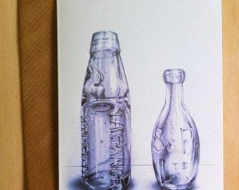 Greetings Card // Vintage Bottles Drawing - Blank, 105 x 148mm
