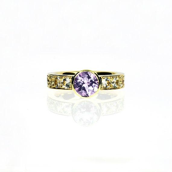 light purple amethyst engagement ring white sapphire ring