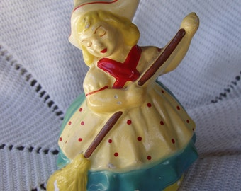 Vintage Kitchen Chalkware Figurine . Dutch Girl Sweeping . Housework . Chores