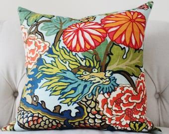 Chiang Mai Dragon - Decorative Pillow Cover -  Schumacher Aquamarine - Aqua Blue Red Orange Coral Yellow Pillow